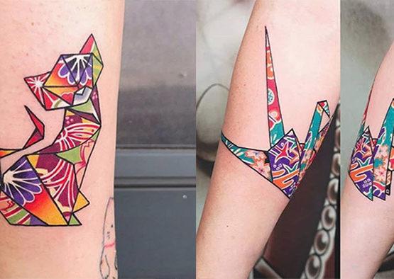 tatuaggio origami femminile