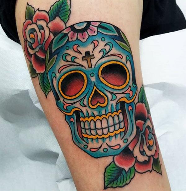 tatuaggio teschio chicano
