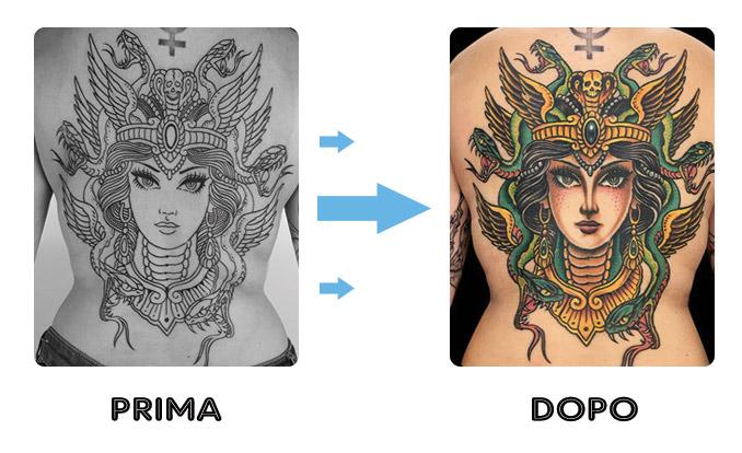 tatuaggio prima e dopo